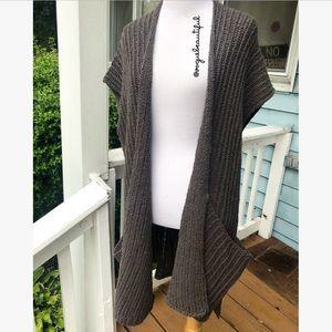 Free People Long Sleeveless Knit Cardigan Gray